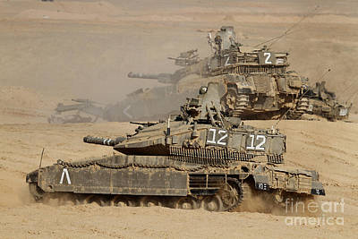 Foreign Military Photograph - A Pair Of Israel Defense Force Merkava by Ofer Zidon