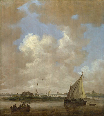 Ship Painting - A River Scene, With A Hut On An Island by Jan van Goyen