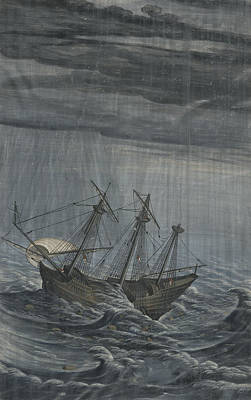 Dusk Painting - A Ship In A Stormy Sea by Celestial Images