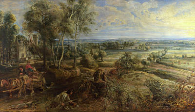 Wagon Painting - A View Of Het Steen In The Early Morning by Peter Paul Rubens
