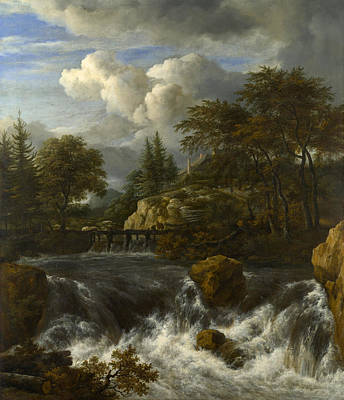 Building Painting - A Waterfall In A Rocky Landscape by Jacob van Ruisdael