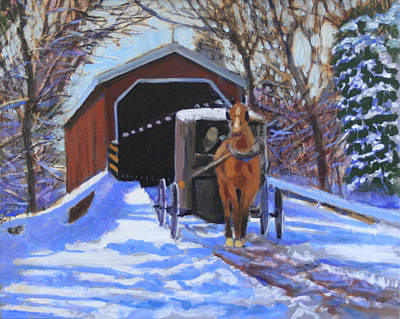 Covered Bridge Painting - A Winter's Tale by David Zimmerman