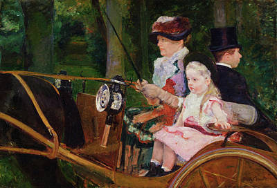 Woman Painting - A Woman And A Girl Driving by Mary Cassatt