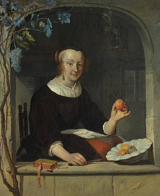 Fruit Painting - A Woman Seated At A Window by Gabriel Metsu
