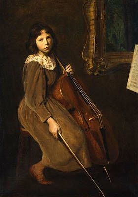 A Young Violoncellist Print by Lilla Cabot