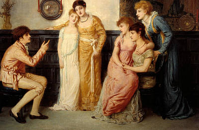 Simeon Painting - A Youth Relating Tales To Ladies by Simeon Solomon