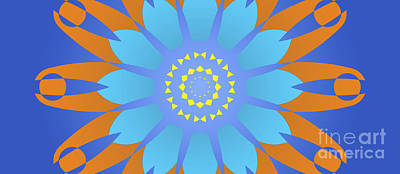 Abstracto Digital Art - Abstract Blue, Orange And Yellow Star by Pablo Franchi