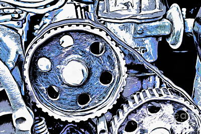 Pinion Mixed Media - Abstract Detail Of The Old Engine by Michal Boubin