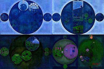 Rectangles Digital Art - Abstract Painting - Saint Patrick Blue by Vitaliy Gladkiy