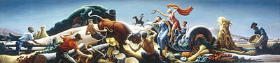 Achelous And Hercules Print by Thomas Benton