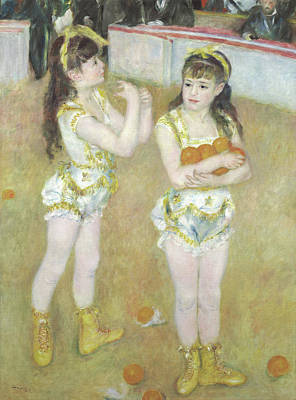 Acrobats At The Cirque Fernando, Francisca And Angelina Wartenberg Print by Pierre Auguste Renoir