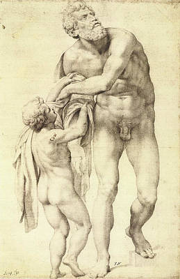 Adolescent Drawing - Aeneas With A Boy by Michelangelo Buonarroti