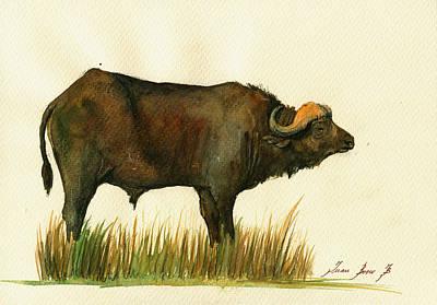 African Buffalo Watercolor Painting Original by Juan  Bosco