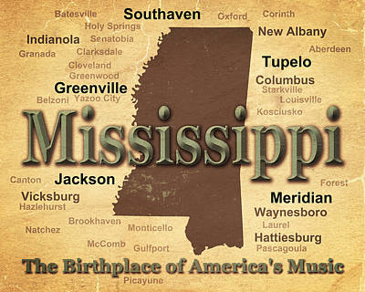 Mississippi State Map Digital Art - Aged Mississippi State Pride Map Silhouette  by Keith Webber Jr
