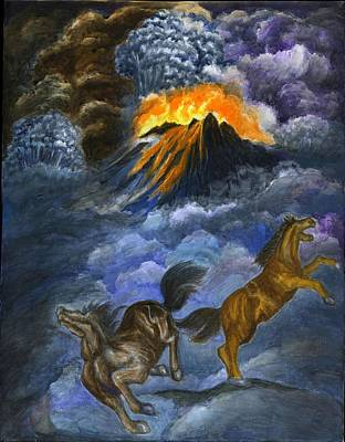Catastrophe Painting - 1. Agonies On Doomsday- Volcano And Horse by Zong Yi