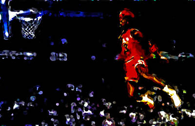 Patrick Ewing Painting - Air Jordan In Flight Iv by Brian Reaves