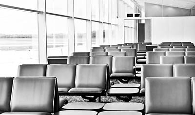 Empty Chairs Photograph - Airport Waiting Lounge by Tom Gowanlock