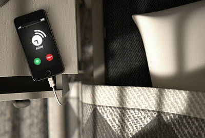 Bedside Table Digital Art - Alarming Cellphone Next To Bed by Allan Swart