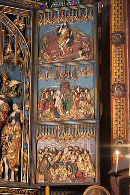 Medieval Temple Photograph - Altarpiece By Wit Stwosz In St. Mary's Basilica by Artur Bogacki