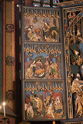 Medieval Temple Photograph - Altarpiece By Wit Stwosz In St. Mary's Basilica In Krakow by Artur Bogacki