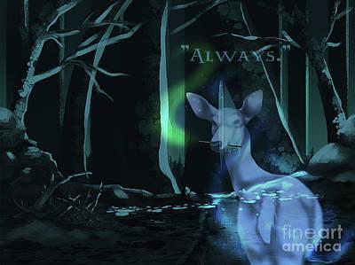 Deathly Hallows Digital Art - Always - With Text by Torachi Lyncaster