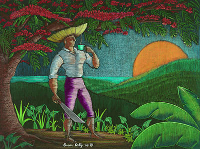 Flamboyan Tree Painting - Amanecer En Borinquen by Oscar Ortiz