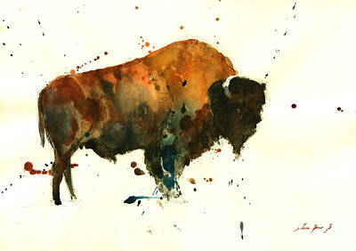 American Buffalo Watercolor Print by Juan  Bosco