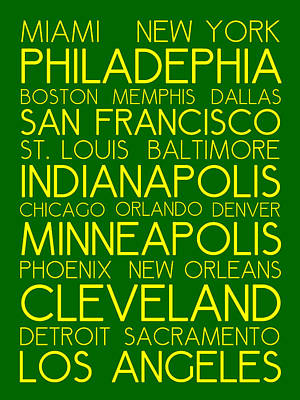 Indianapolis Painting - American Cities In Bus Roll Destination Map Style Poster  by Celestial Images