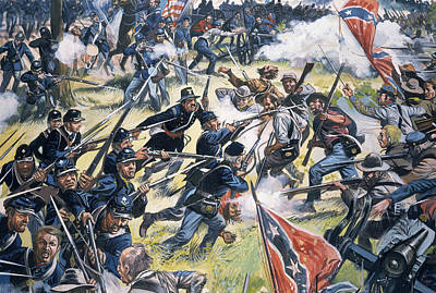 Conflict Painting - American Civil War by American School
