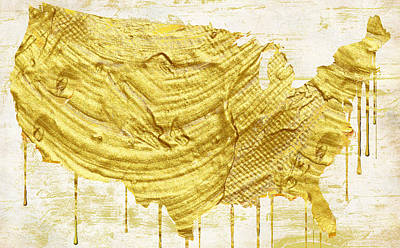 Gold American Map Print by Mindy Sommers