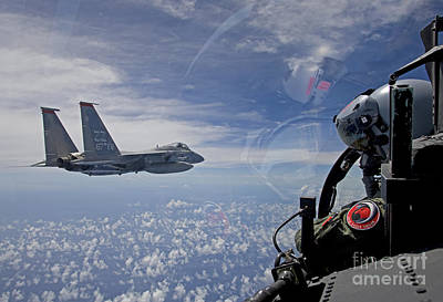 F-15 Photograph - An F-15 Eagle Pilot Flies In Formation by HIGH-G Productions