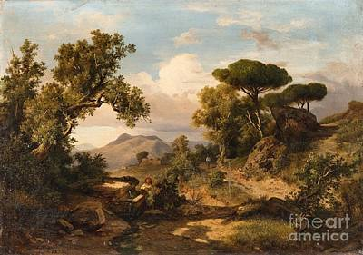 Italian Landscape Painting - An Italian Landscape by MotionAge Designs