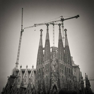 Architecture Photograph - Analog Black And White Photography - Barcelona - Sagrada Familia by Alexander Voss