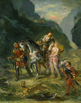 Novel Painting - Angelica And The Wounded Medoro by Eugene Delacroix