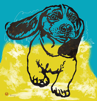Abstract Of Dogs Drawing - Animal Pop Art Etching Poster - Dog - 11 by Kim Wang