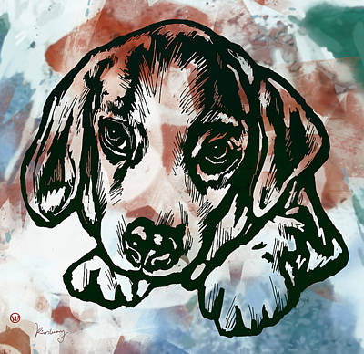 Abstract Of Dogs Drawing - Animal Pop Art Etching Poster  - Dog  by Kim Wang