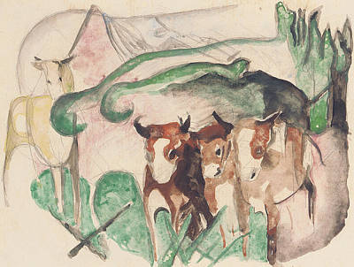 Cow Drawing - Animals In A Landscape by Franz Marc