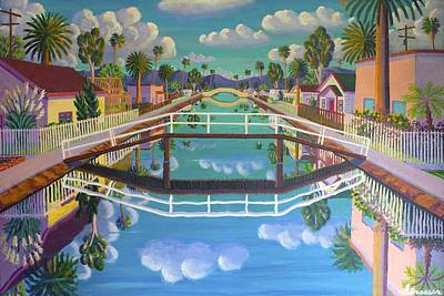 Venice Beach Painting - April On Retro Canal by Frank Strasser