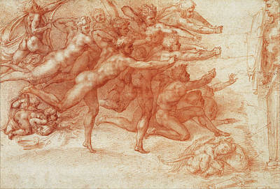 Michelangelo Drawing - Archers Shooting At A Herm by Michelangelo Buonarroti