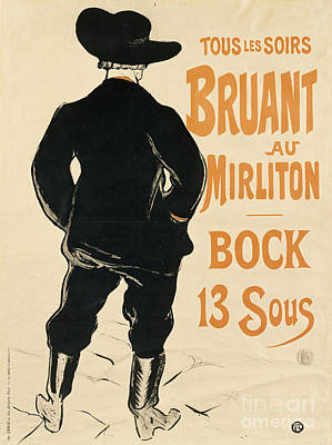 Aristide Bruant Print by Henri de Toulouse Lautrec
