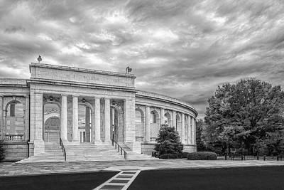 Arlington Memorial Amphitheater Bw Print by Susan Candelario