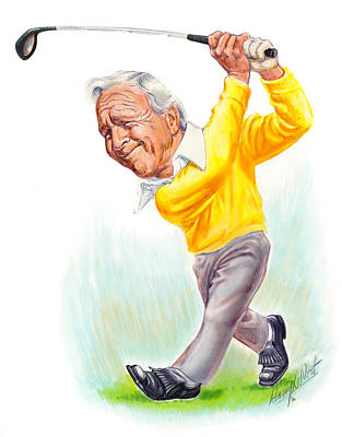 Golf Drawing - Arnie by Harry West