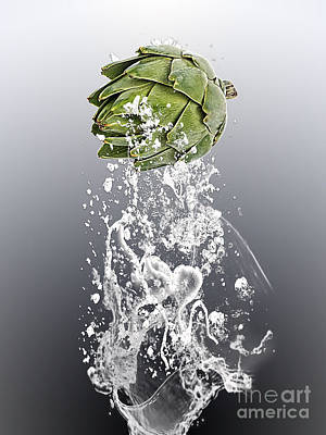 Vegetables Mixed Media - Artichoke Splash by Marvin Blaine