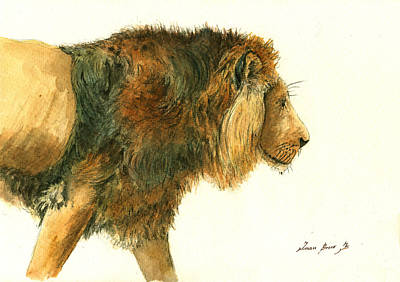Persian Painting - Asiatic Lion by Juan Bosco