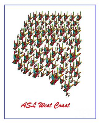 Asl West Coast Map Print by Eloise Schneider