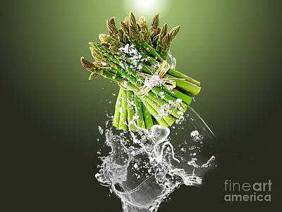 Asparagus Mixed Media - Asparagus Splash by Marvin Blaine