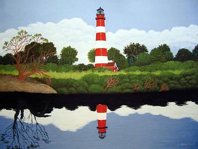 Historic Lighthouse Images Painting - Assateague Island Lighthouse by Frederic Kohli