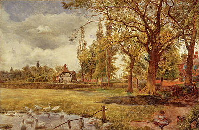 William Davis Painting - At Hale. Lancashire by William Davis