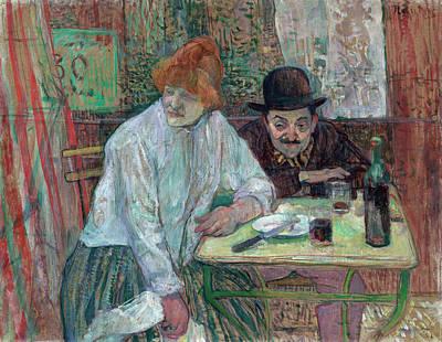 Bottle Painting - At The Cafe La Mie by Henri de Toulouse-Lautrec