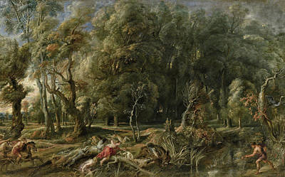 Boar Painting - Atalanta And Meleager Hunting The Calydonian Boar by Peter Paul Rubens